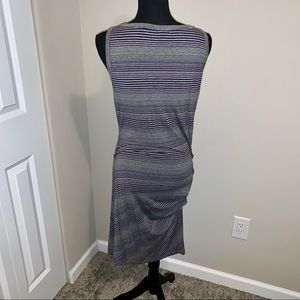 Striped gray/blue dress with ruching on the side